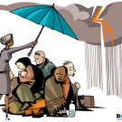 Cartoon of woman holding an umbrella over people