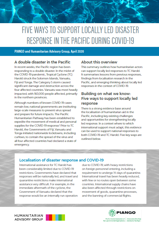 Five ways to support locally led disaster response in the Pacific during COVID-19