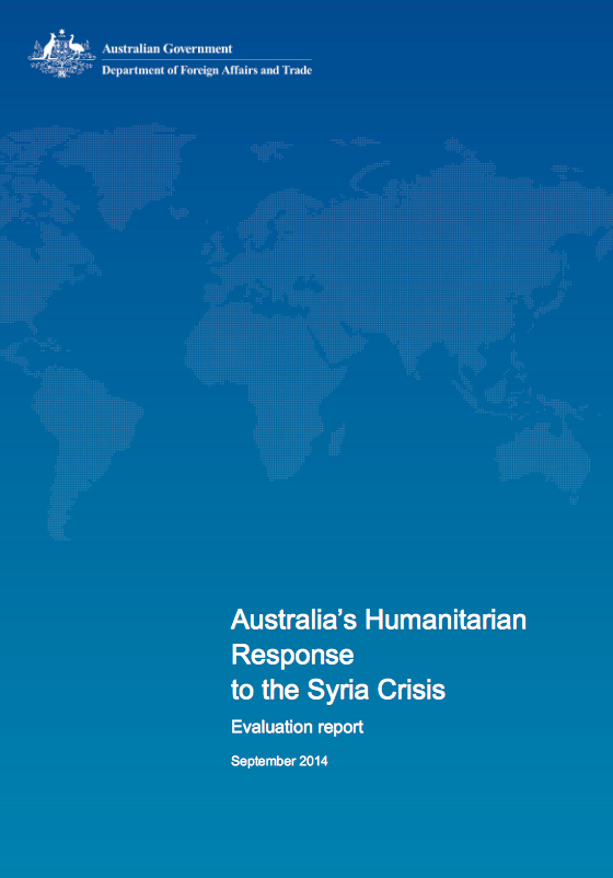 Australia's Humanitarian Response to the Syria Crisis – Evaluation Report