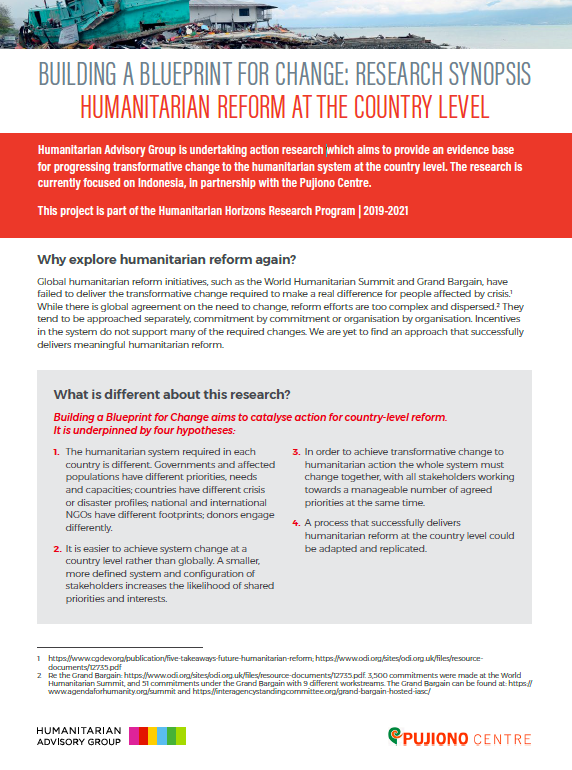 Building a Blueprint for Change: Humanitarian reform at the country level Research Synopsis