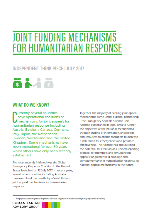 Independent Think Piece – Joint funding mechanisms for humanitarian response